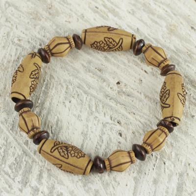 Wood beaded stretch bracelet, 'Sunflower Power' - Sunflower Sese Wood Beaded Recycled Plastic Stretch Bracelet