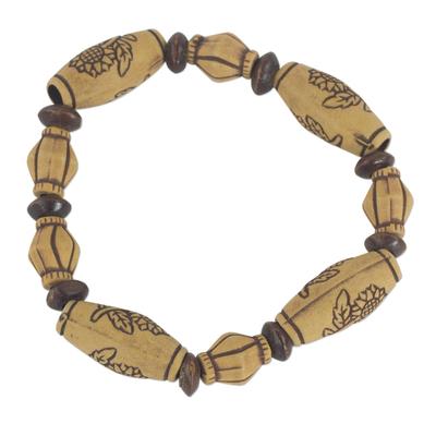 Sunflower Sese Wood Beaded Recycled Plastic Stretch Bracelet