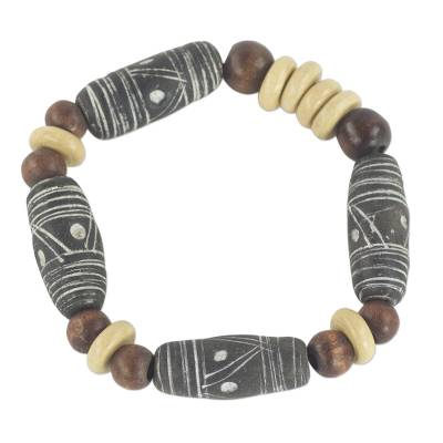 Fair Trade Black and Brown Terracotta and Wood Beaded Stretch Bracelet