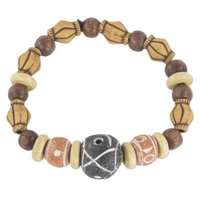 Handmade Brown Wood and Terracotta Beaded Stretch Bracelet