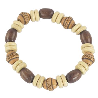 Wood and ceramic beaded bracelet, 'Feminine Beauty' - Sese Wood and Terracotta Hand Made Ghanaian Beaded Bracelet