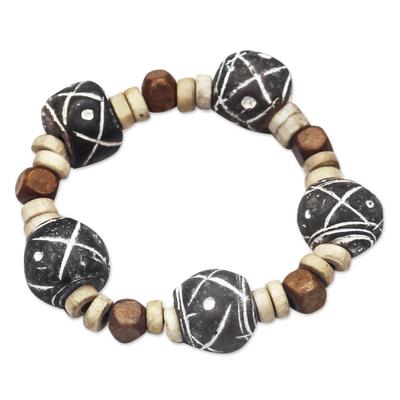 Terracotta and Sese Wood Beaded Stretch Bracelet from Ghana