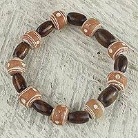 Wood and recycled plastic beaded bracelet, 'Successful Obaa Mo' - Wood and Recycled Plastic Beaded Stretch Bracelet from Ghana