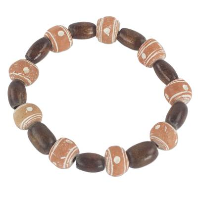 Wood and Recycled Plastic Beaded Stretch Bracelet from Ghana