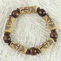 Wood and recycled plastic stretch bracelet, 'Chocolate Escape' - Artisan Crafted Sese Wood Recycled Plastic Stretch Bracelet