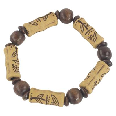 Wood and recycled plastic stretch bracelet,