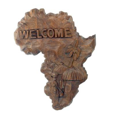 Artisan HandCarved African Map Welcome Sign Our African