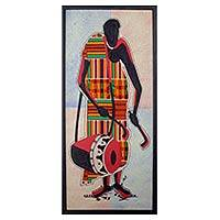 Kente cloth wall art, 'Talking Drum' - Drum Theme Mixed Media West African Folk Art Composition
