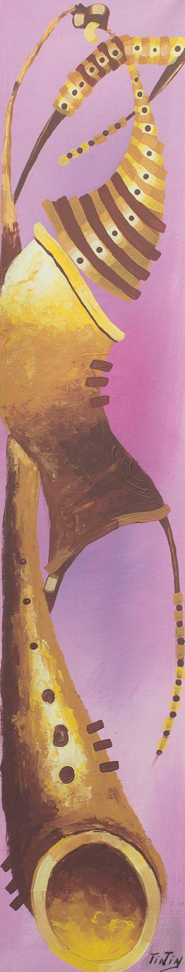 'Brown Ochre I' - Woman and Sax Original Painting in Purple and Brown