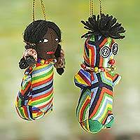 Cotton ornaments, 'Little African Princess' (set of 5) - Set of 5 Cotton Patchwork African Doll Ornaments