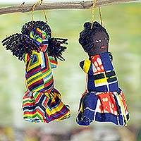 Cotton ornaments, 'Princess Dolls' (set of 4) - African Lady Handcrafted Patchwork Doll Ornaments (Set of 4)