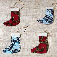Cotton ornaments, 'Little Stockings' (set of 4) - Colorful Cotton Christmas Stocking Ornaments (Set of 4)