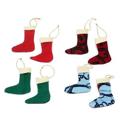 Colorful Cotton Christmas Stocking Ornaments (Set of 4)