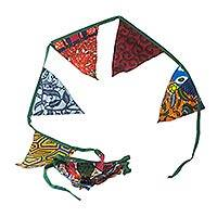 Cotton garland, 'Christmas Banners' - Artisan Crafted Colorful Cotton Christmas Garland from Ghana