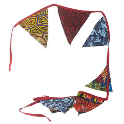Cotton garland, 'Bronya Banners' - Artisan Crafted Colorful Cotton Christmas Garland from Ghana
