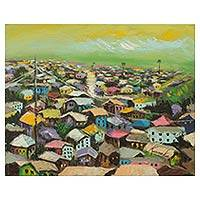 'Overview' - Multicolor Urban Landscape Painting from Ghana