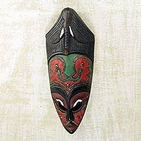 African wood mask, 'Blessing Time' - West African Sese Wood Mask with Elephant Theme