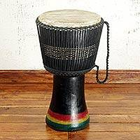 Wood djembe drum, 'Familiar Song' - Handmade African Tweneboa Wood Djembe Goatskin Drum Black