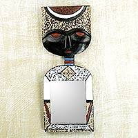 Wall mirror, 'Handsome Man' - Handcrafted Wall Mirror Crowned with an African Mask