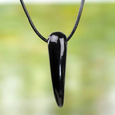 Leather and bull horn pendant necklace, 'Black Talon' - Handcrafted Unisex Necklace in Leather with Bull Horn