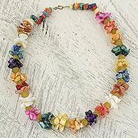 Agate beaded necklace, 'Colorful Life' - Agate Recycled Glass Beaded Necklace from West Africa