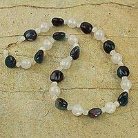 Agate beaded necklace, 'Pond Pebbles' - Agate Recycled Plastic Beaded Necklace from West Africa