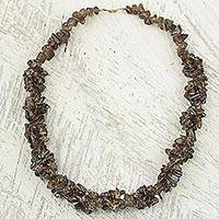 Agate beaded necklace, 'Majestic Woodland' - Brown Agate Beaded Necklace from West Africa