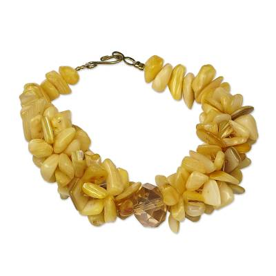 Yellow Agate Glass Beaded Bracelet from West Africa