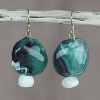 Agate dangle earrings, 'Pond Pebbles' - Green and White Agate Dangle Earrings from West Africa