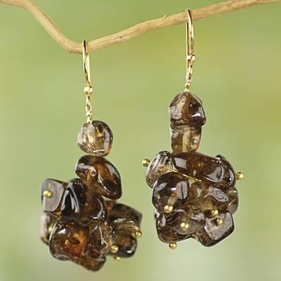 Agate cluster earrings, 'Majestic Woodland' - Brown Agate Cluster Earrings from West Africa