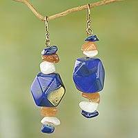 Agate dangle earrings, 'Blue African Ivy' - Agate and Blue Plastic Bead Dangle Earrings from West Africa