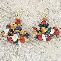 Agate cluster earrings 'Colorful Medley' - Multicolored Agate Cluster Earrings from West Africa