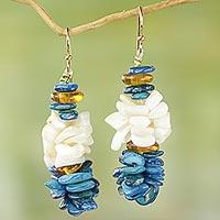 Agate cluster earrings,
