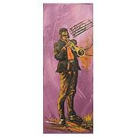 'Joyful Noise' - Signed Original Acrylic Painting of Man Playing a Trumpet