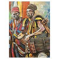 'Yoruban Celebration Uwa-Mbe' (2013) - Yoruban Drummers Original Signed Painting