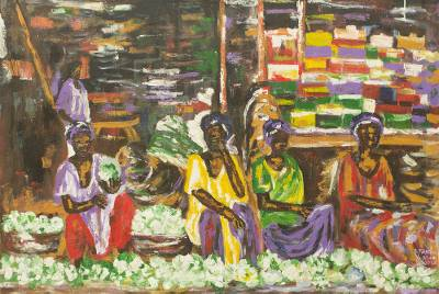 Acrylic Painting of African Market Women Selling Vegetables