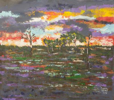 African Acrylic Landscape Painting of Australian Sunset