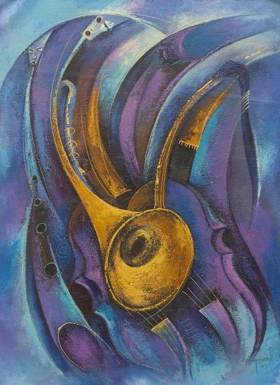 'Melody in Blues' - Original Expressionist Music Painting from West Africa