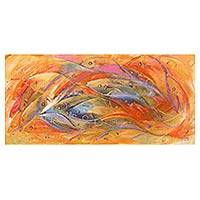 'Strength in Unity' - Original Expressionist Painting Fish from West Africa