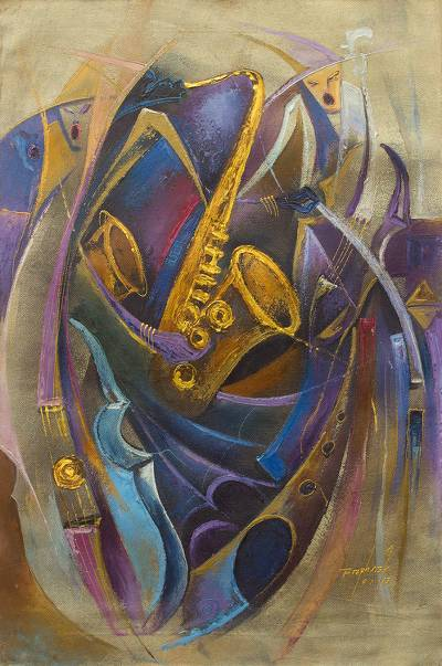 'Jazz Orchestra II' - Acrylic Expressionist Painting Jazz Band from West Africa
