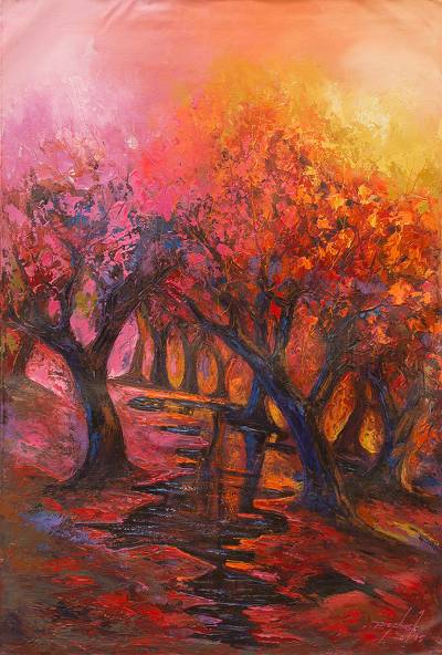 Acrylic Expressionist Painting of Trees from West Africa
