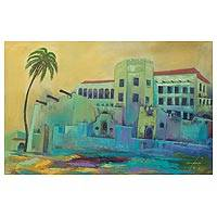 'Relics of the Past' - Original Signed Painting Cityscape from West Africa