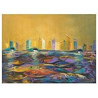 'What Future I' - Original Acrylic Painting Fish Cityscape from West Africa