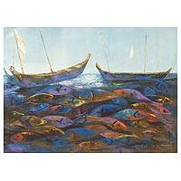 'What Future II' - Original Acrylic Painting Fish and Boats from West Africa