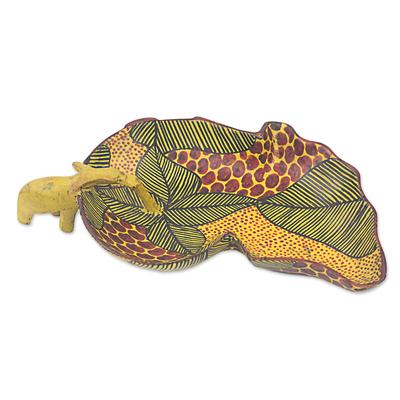 Wood centerpiece, 'African Elephant' - Hand Made African Elephant Teak Centerpiece from West Africa