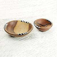 Wood decorative bowls, 'African Delight' (pair) - Hand Made Wood Decorative Bowl Pair from West Africa
