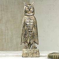 Wood sculpture, 'Stoic Owl' - Wooden Upright Owl Sculpture Hand Carved in Ghana