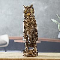 Wood sculpture, 'Watchful Owl'