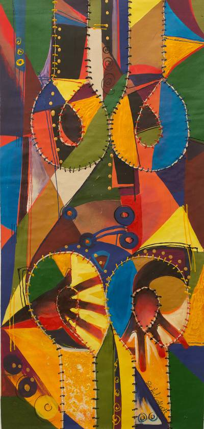 'Duet' - Cubist Mixed Media Painting of African Drummers Signed Art