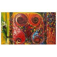 'Metamorphosis' - Adinkra Love Sankofa Symbol Multicolor Signed Art Painting